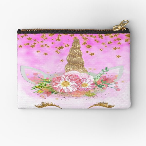 Pink Unicorn and Gold Stars Zipper Pouch