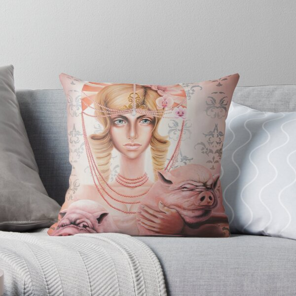 Pigs & Pearls Throw Pillow