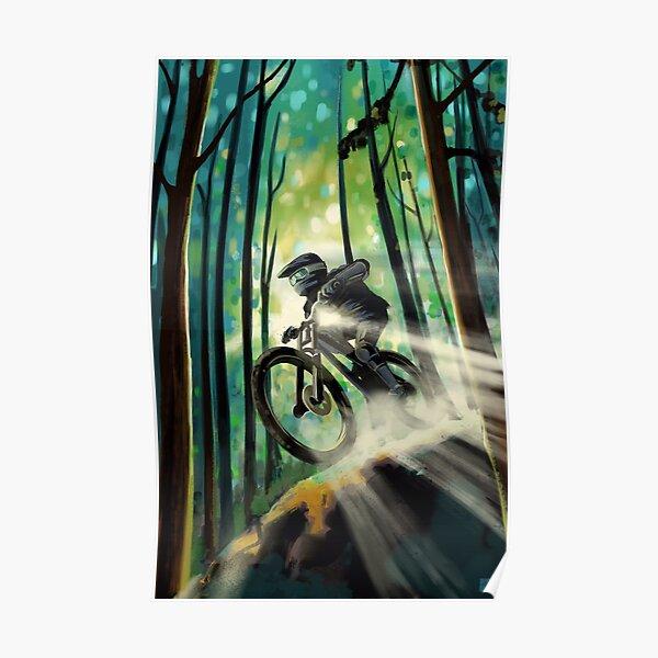 Forest Jump Mountain Biker Poster