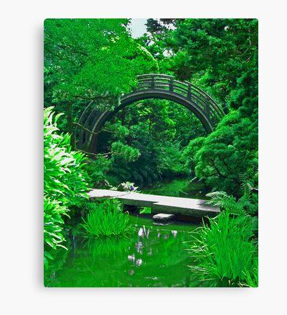 Japanese Garden Bridges photo painting Canvas Print