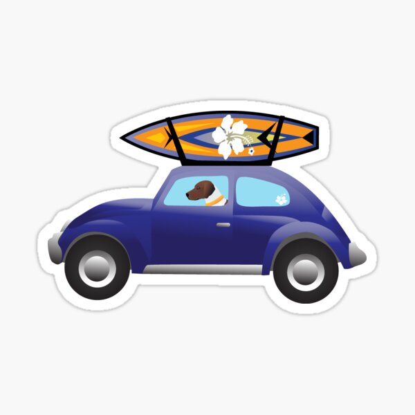 Harrier driving a purple beatle car on the beach with a surfboard on top. Sticker