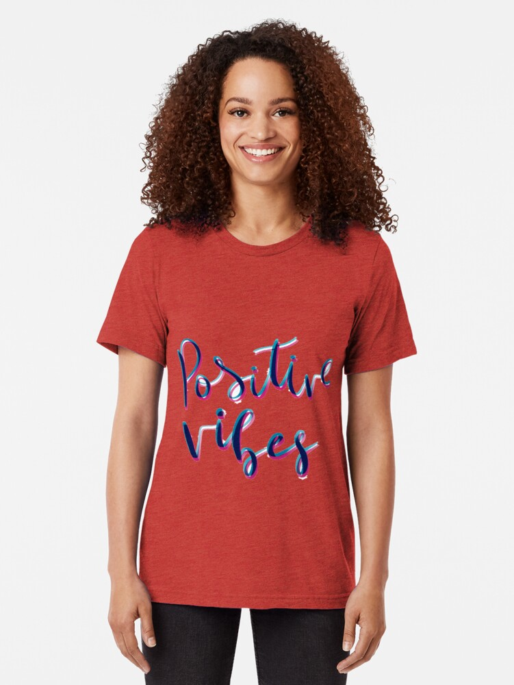 Vista alternativa de Camiseta de tejido mixto Vibras positivas