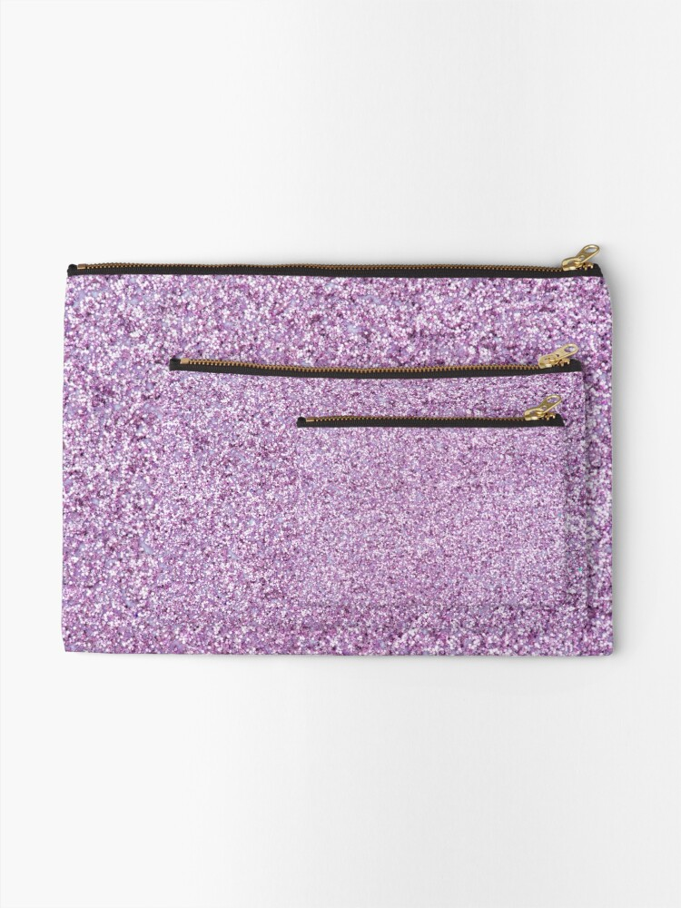 Alternate view of Light Purple Glitter Zipper Pouch