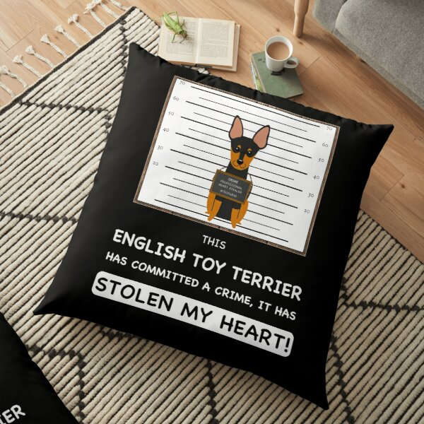 English Toy Terrier Mugshot - Funny English Toy Terrier Gift For Dog Lover Floor Pillow