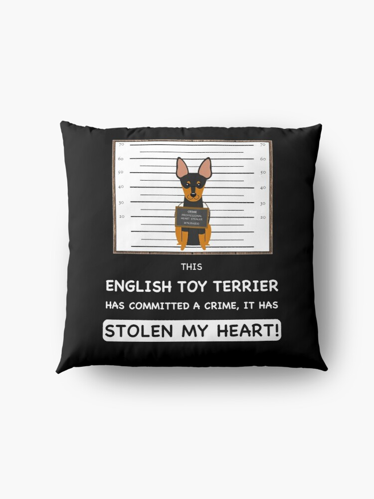 Alternate view of  English Toy Terrier Mugshot - Funny English Toy Terrier Gift For Dog Lover Floor Pillow