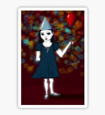 Lonely Girl's Red Balloon Sticker