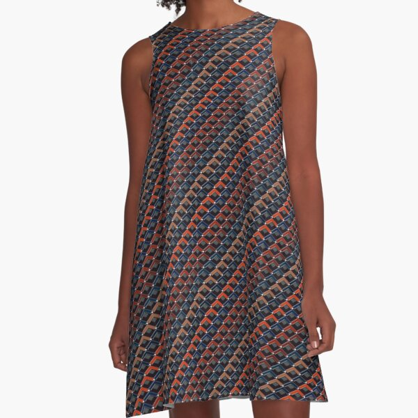 Colorful zigzag checkered steps A-Line Dress