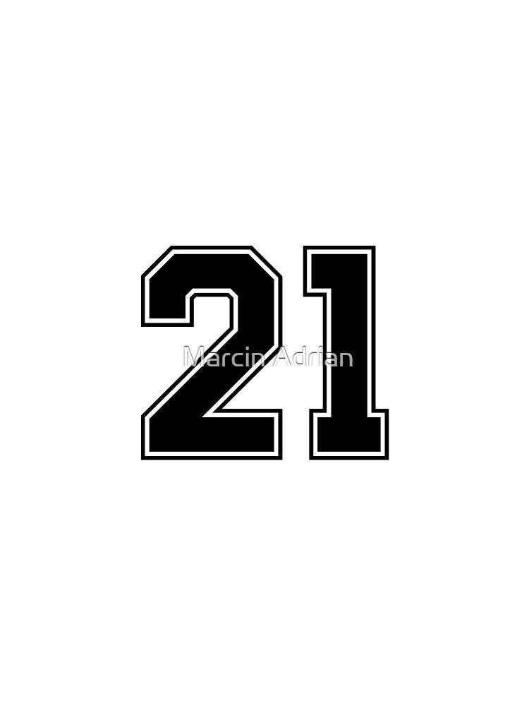 21 Klassische American Football Sport-Jersey-Zahl des American Football in der schwarzen Zahl auf weißem Hintergrund für Illustration des American Football, des Baseballs oder des Basketball von MarcinAdrian