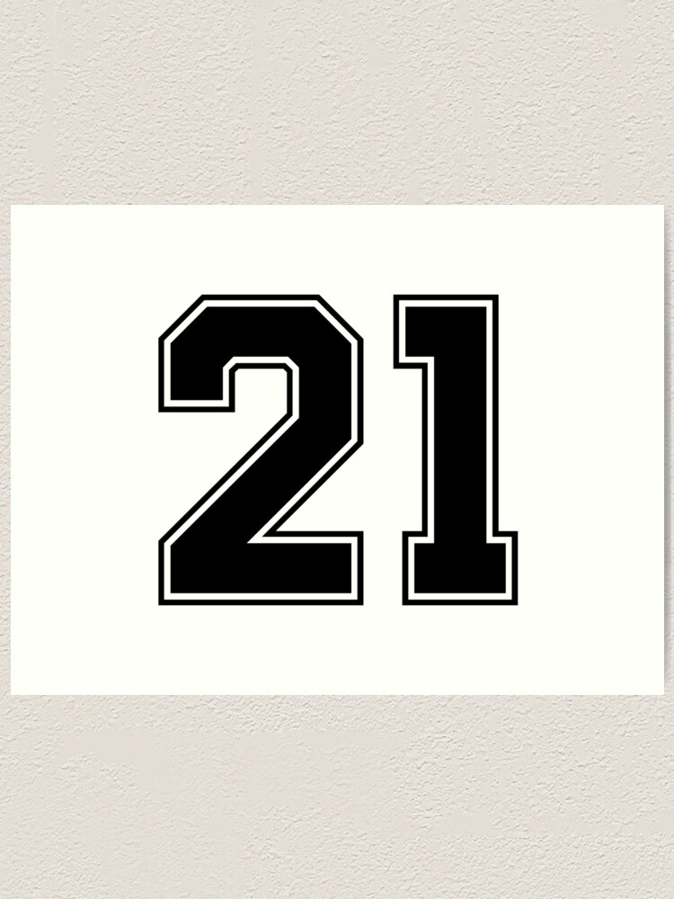 21 American Football Classic Vintage Sport Jersey Number in black number on white background for american football, baseball or basketball   Art Print