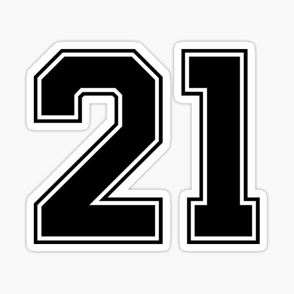21 American Football Classic Vintage Sport Jersey Number in black number on white background for american football, baseball or basketball Sticker