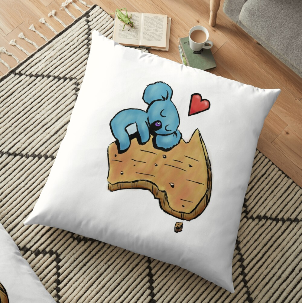 Cute Sleeping Koala on Australia Floor Pillow