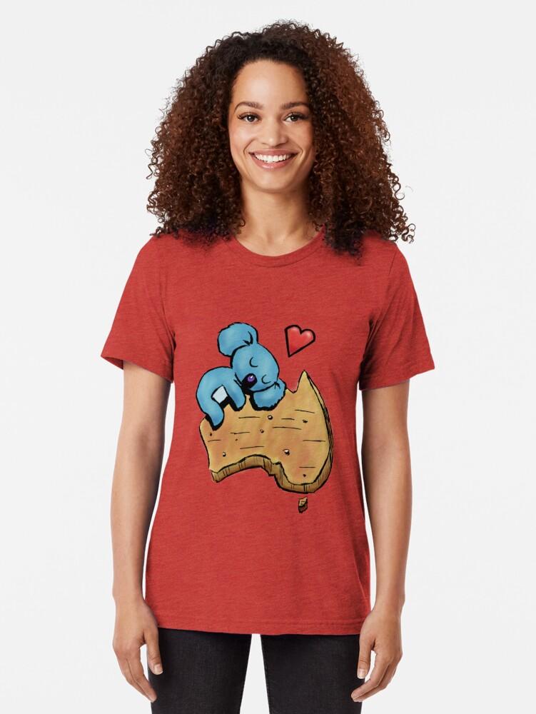 Alternate view of Cute Sleeping Koala on Australia Tri-blend T-Shirt