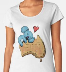 Cute Sleeping Koala on Australia Premium Scoop T-Shirt
