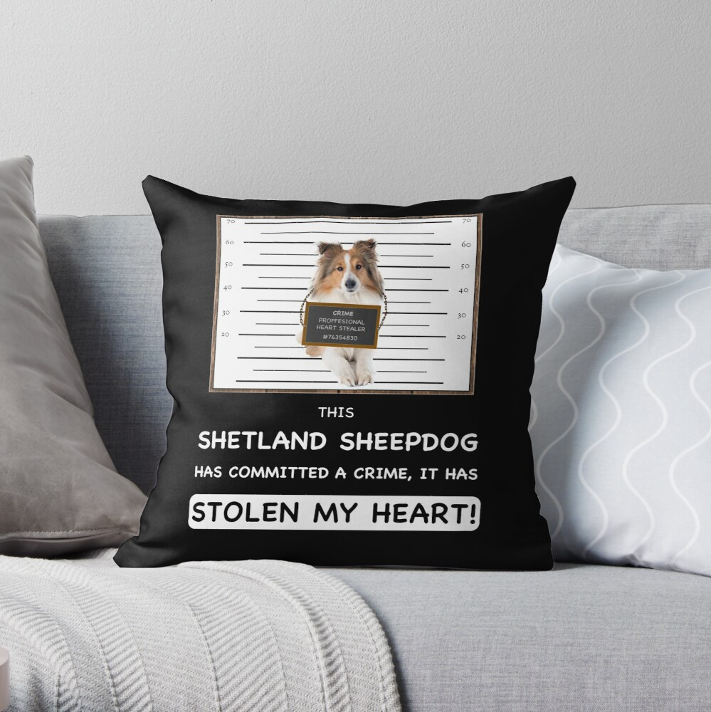 Shetland Sheepdog Mugshot - Funny Shetland Sheepdog Gift For Dog Lover Throw Pillow