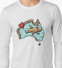 Cute Swimming Platypus in Australia Long Sleeve T-Shirt