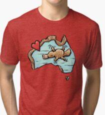 Cute Swimming Platypus in Australia Tri-blend T-Shirt