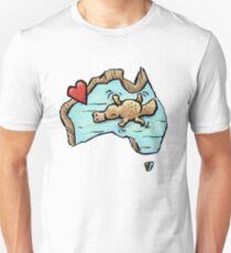 Cute Swimming Platypus in Australia Slim Fit T-Shirt