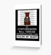 Staffordshire Bull Terrier Mugshot - Funny Staffordshire Bull Terrier Gift For Dog Lover Greeting Card