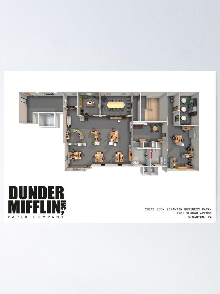 Póster Plano De Planta De Dunder Mifflin De Zoeandsons Redbubble