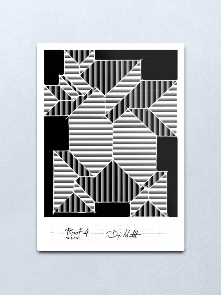 Alternate view of Geometric Art - Black and White Roof Metal Print