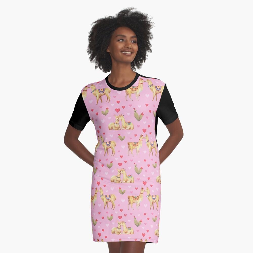 Llamas in llove 2 Graphic T-Shirt Dress
