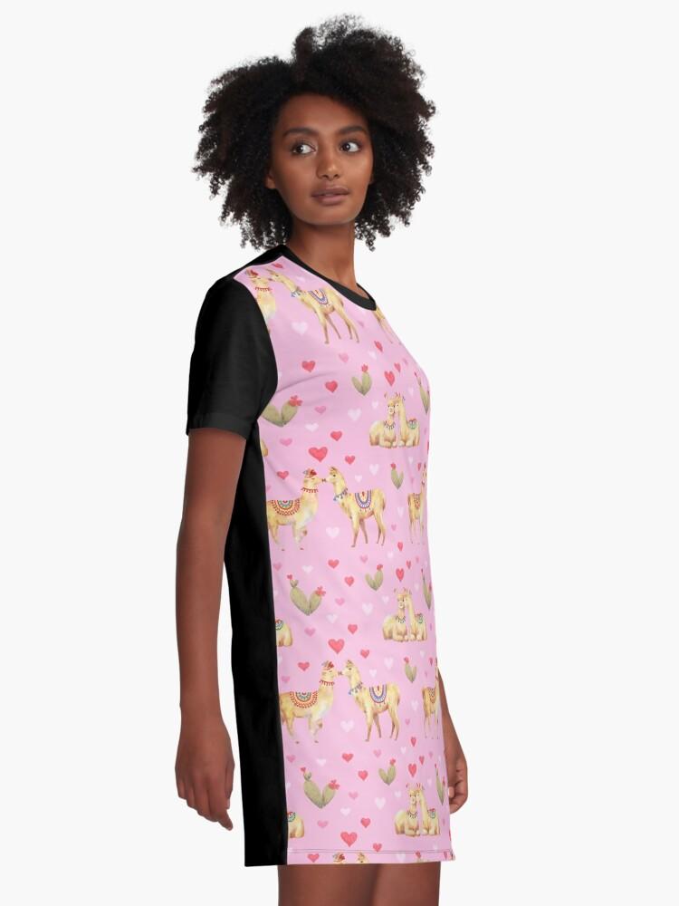 Alternate view of Llamas in llove 2 Graphic T-Shirt Dress