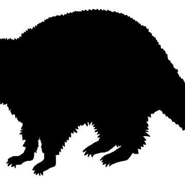 Raccoon silhouette black by RetroFuchs