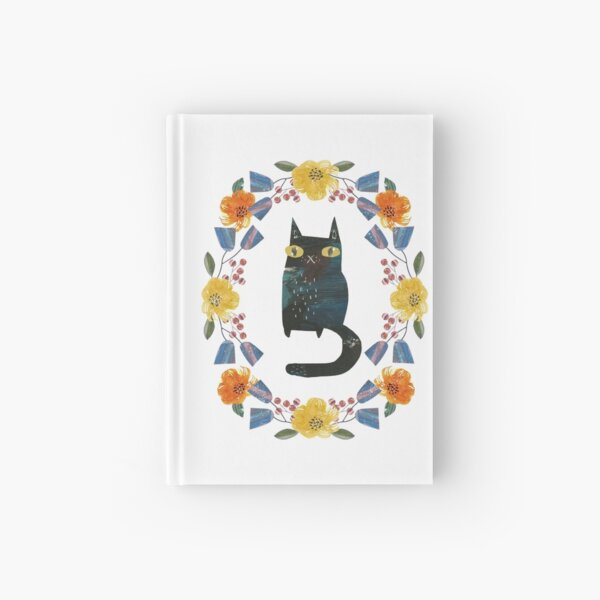Cat and flowers Hardcover Journal