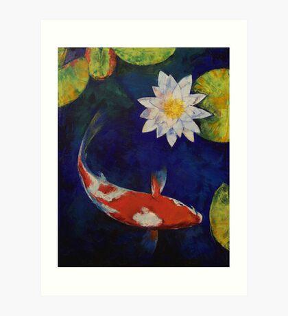 Kohaku Koi and Water Lily Art Print