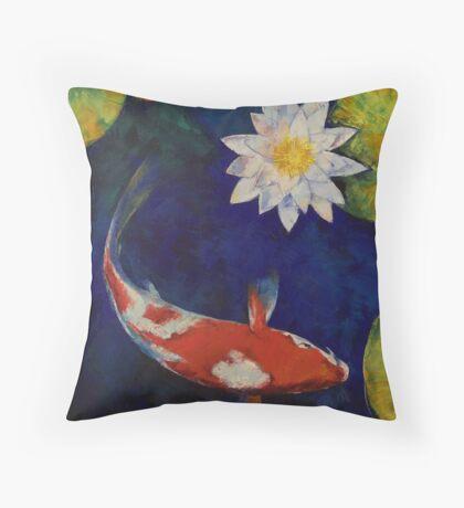 Kohaku Koi and Water Lily Throw Pillow