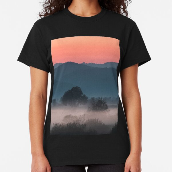 Foggy landscape at sunset Classic T-Shirt