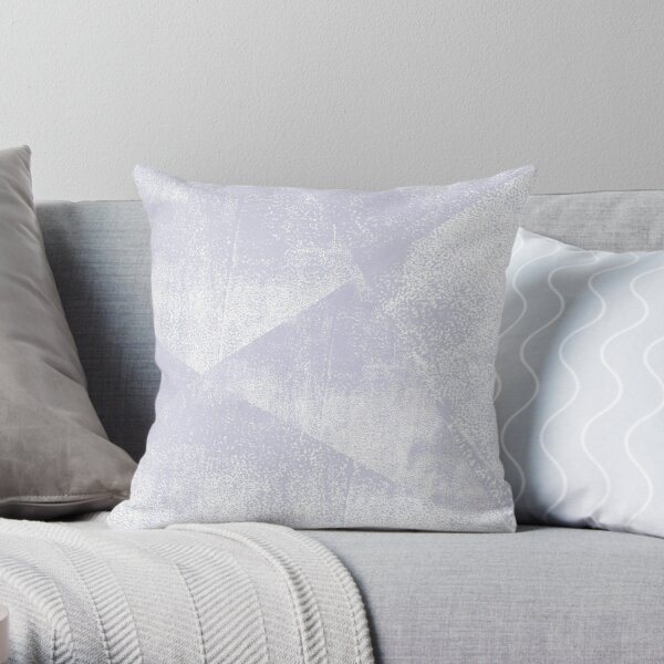 Dusty Purple and White Geometric Ink Texture  Throw Pillow