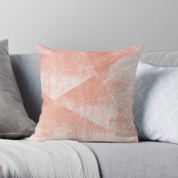 Coral and White Geometric Ink Texture  Throw Pillow