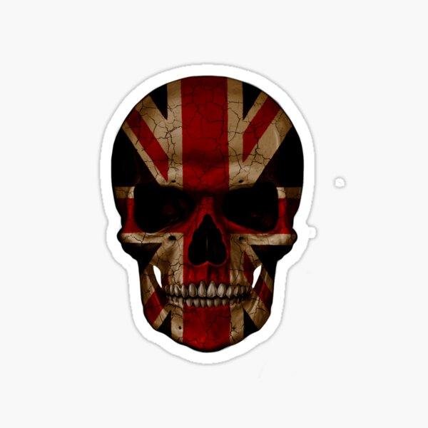 Crâne de motard de motard britannique Design by MotorManiac Sticker