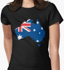 Australia Flag and Map Womens Fitted T-Shirt