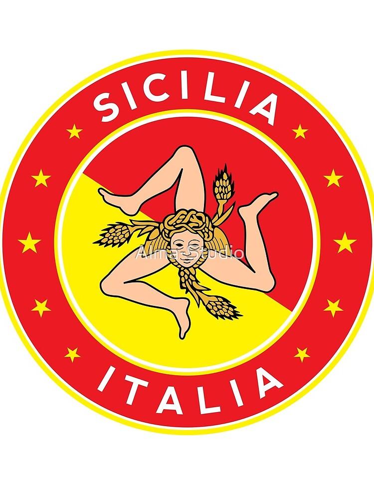 Sicilia, Italia, Sicily, Italy, sticker with flag colors by Alma-Studio