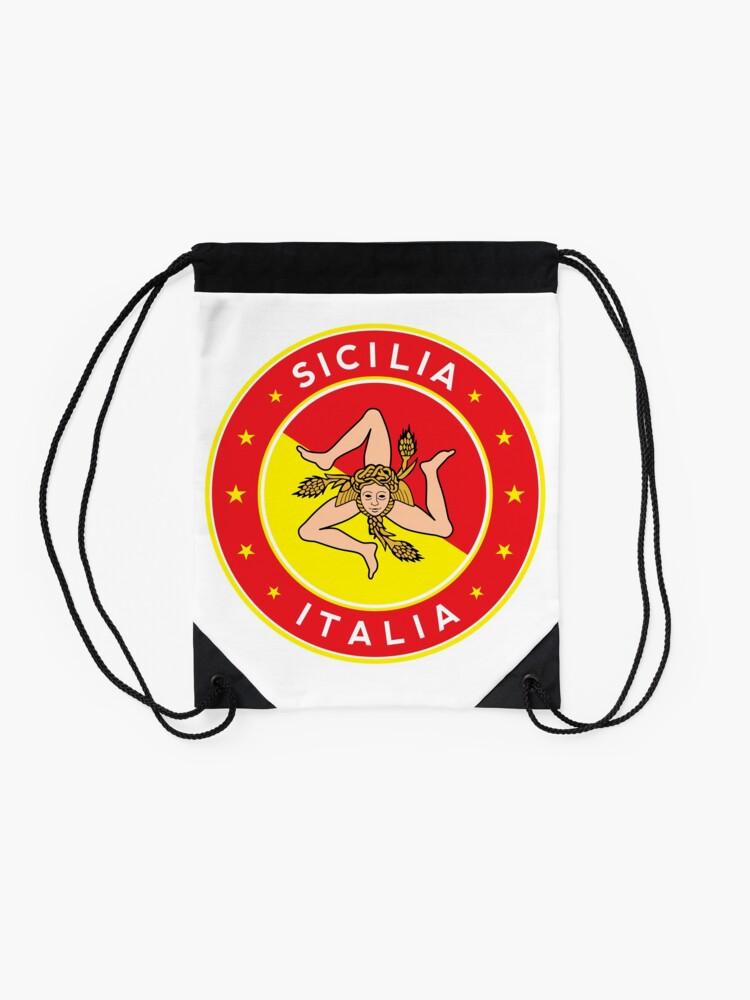 Alternate view of Sicilia, Italia, Sicily, Italy, sticker with flag colors Drawstring Bag
