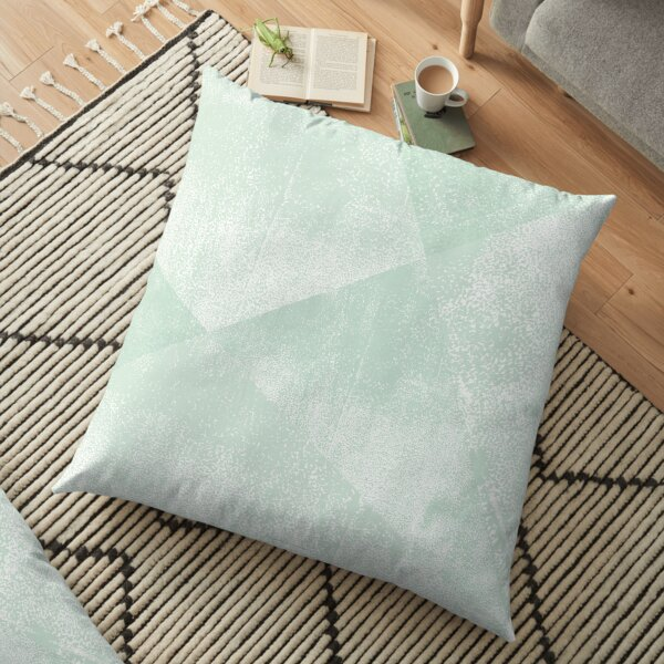 Mint Green and White Geometric Triangles Lino-Textured Print Floor Pillow
