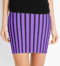 Purple Black Slimming Vertical Striped Skirt Mini Skirt