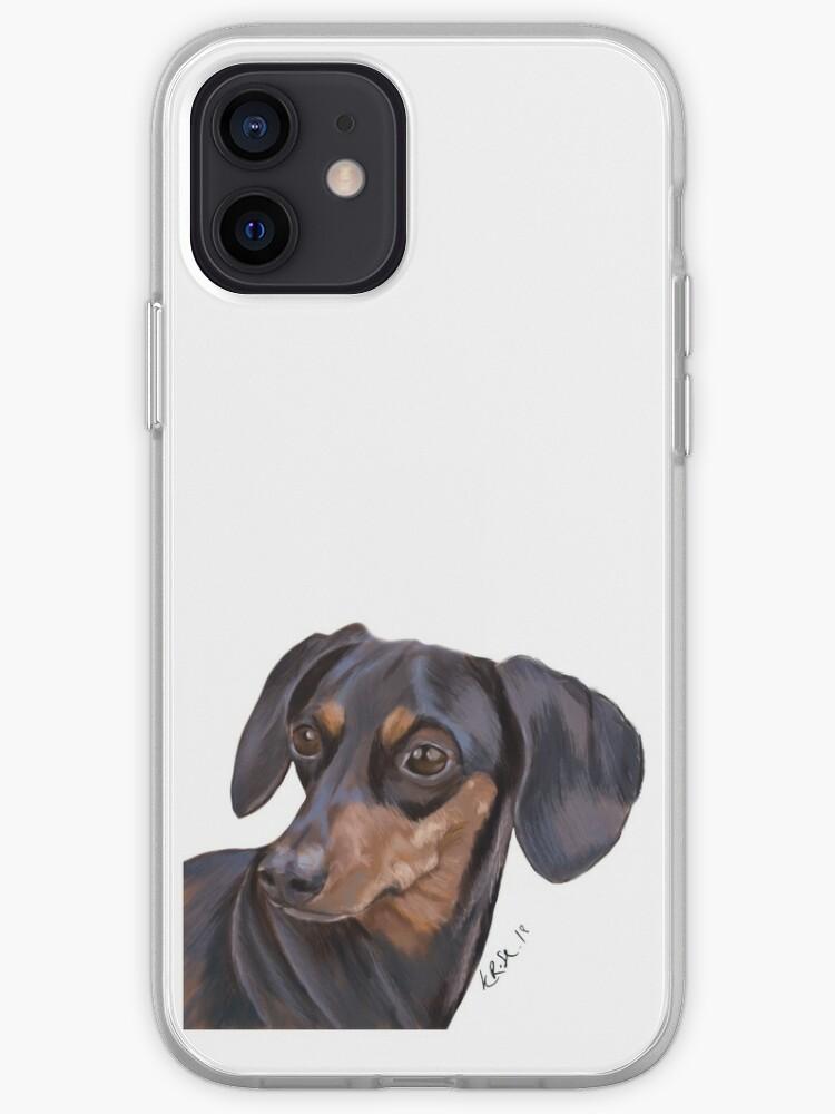 Chien saucisse, daschund, peinture de chien saucisse | Coque iPhone