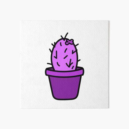 Purple Cactus Art Board Print