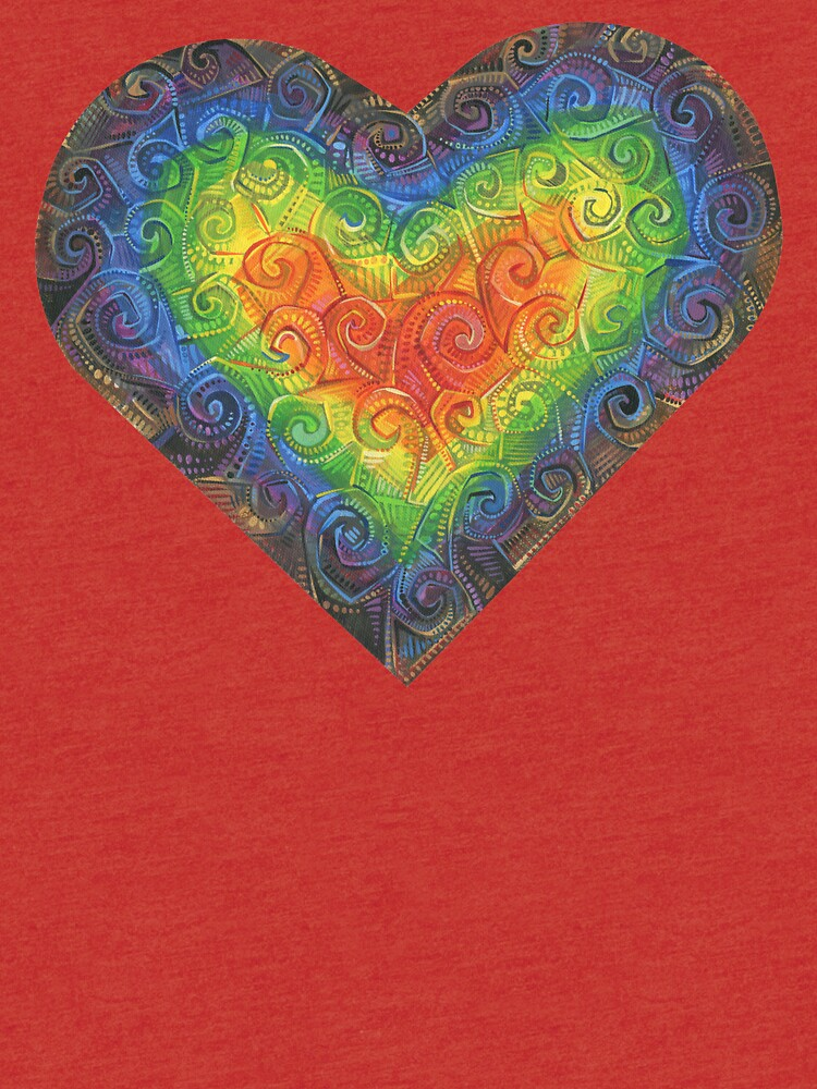 Rainbow swirl heart painting - 2018 by gwennpaints