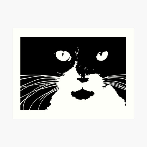 """Cat Print/My Patch"" Abstract Graphic Black and White Feline Face  - Jenny Meehan Art Print"