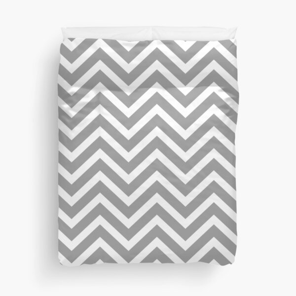Chevron Pattern - Grey and White Duvet Cover