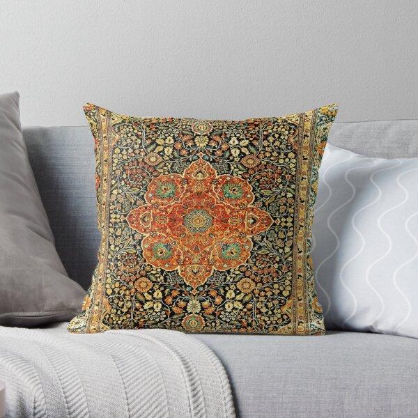 Antique Persian Mohtashem Kashan Rug Print Throw Pillow