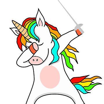 Funny fencecorn fencing dabbing unicorn by Mmastert