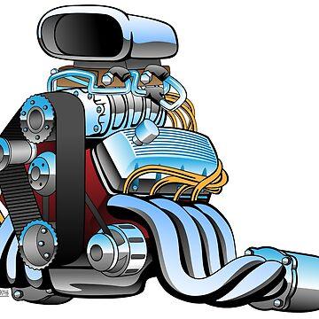 Hot rod race car engine cartoon by hobrath