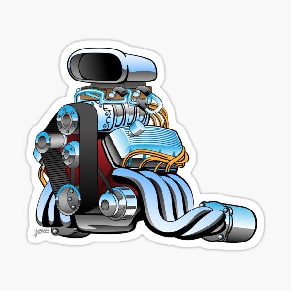 Hot rod race car engine cartoon Sticker