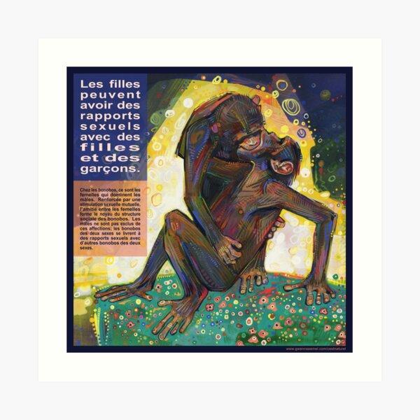 Le Baiser (Le Bonobo) Art Print