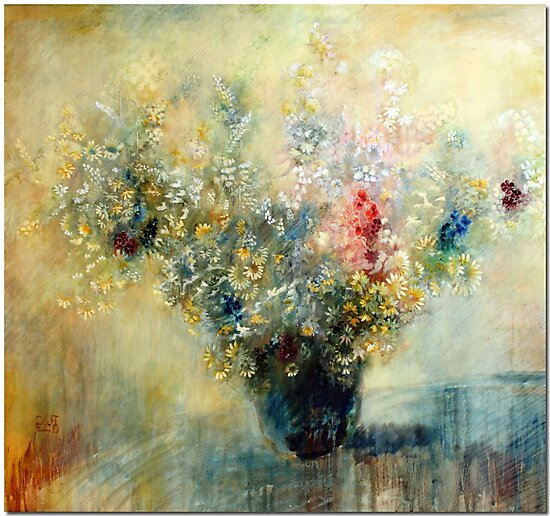Bunch of flowers in a vase by Lorenzo Castello